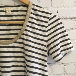 J.Crew striped tshirt with sparkling neck